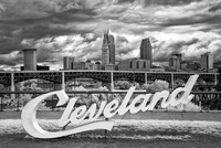 Cleveland Script Sign - Abbey Rd - Infrared B&W