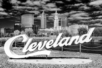 Cleveland Script Sign at the Foundry - Infrared B&W
