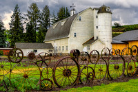 Palouse Scenic Byway Wagon Wheel Fence at Dehmen Barn (1)