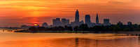 Sunrise - Cleveland Skyline - From Edgewater Park - 1x3 ratio panorama