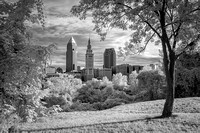 Cleveland Skyline From the Centennial Trail - Infrared B&W