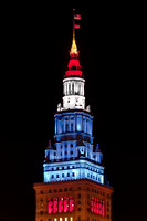 Terminal Tower Lit in Red White and Blue