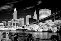 Cleveland Skyline and Veteran's Memorial Bridge 2013 - B&W Infrared