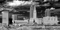 Cleveland Skyline from Lorain Carnegie Bridge - Infrared B&W