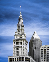 Cleveland - Terminal Tower and Key Bank Tower - Infrared False Color