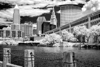 Cleveland Skyline, Cuyahoga River, and Veteran's Memorial Bridge 2014 - B&W Infrared
