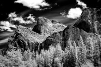 Bridalveil Fall as Seen From Valley View Infrared B&W