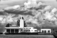 Coast Guard Station on Cloudy Day - B&W