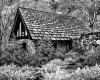 Stone Cabin with Slate Roof - Infrared B&W