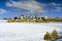 Cleveland Skyline From Lake Erie/Edgewater Beach - Frozen in Winter - Infrared False Color