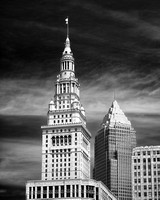 Cleveland - Terminal Tower and Key Bank Tower - Infrared B&W